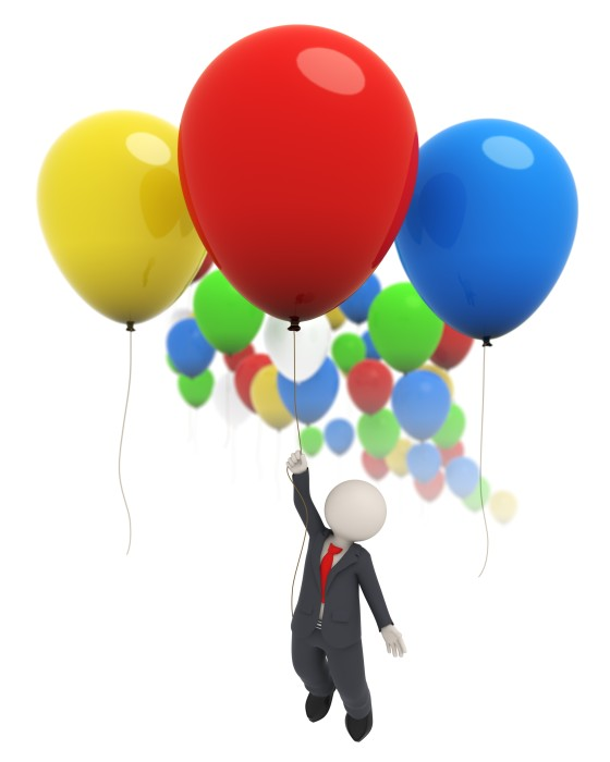 10824418 - 3d rendered business man flying high with a red balloon